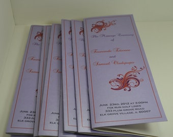 Wedding ceremony programs in lavender and orange