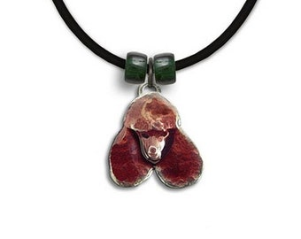 Enamel Chocolate  Poodle Necklace