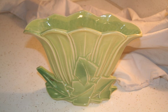 Gorgeous McCoy Green Floral Vase