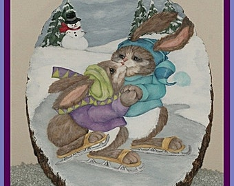 Hand Painted Winter Scene Skating Bunnies, Basswood Wall Hanging, Home Decor