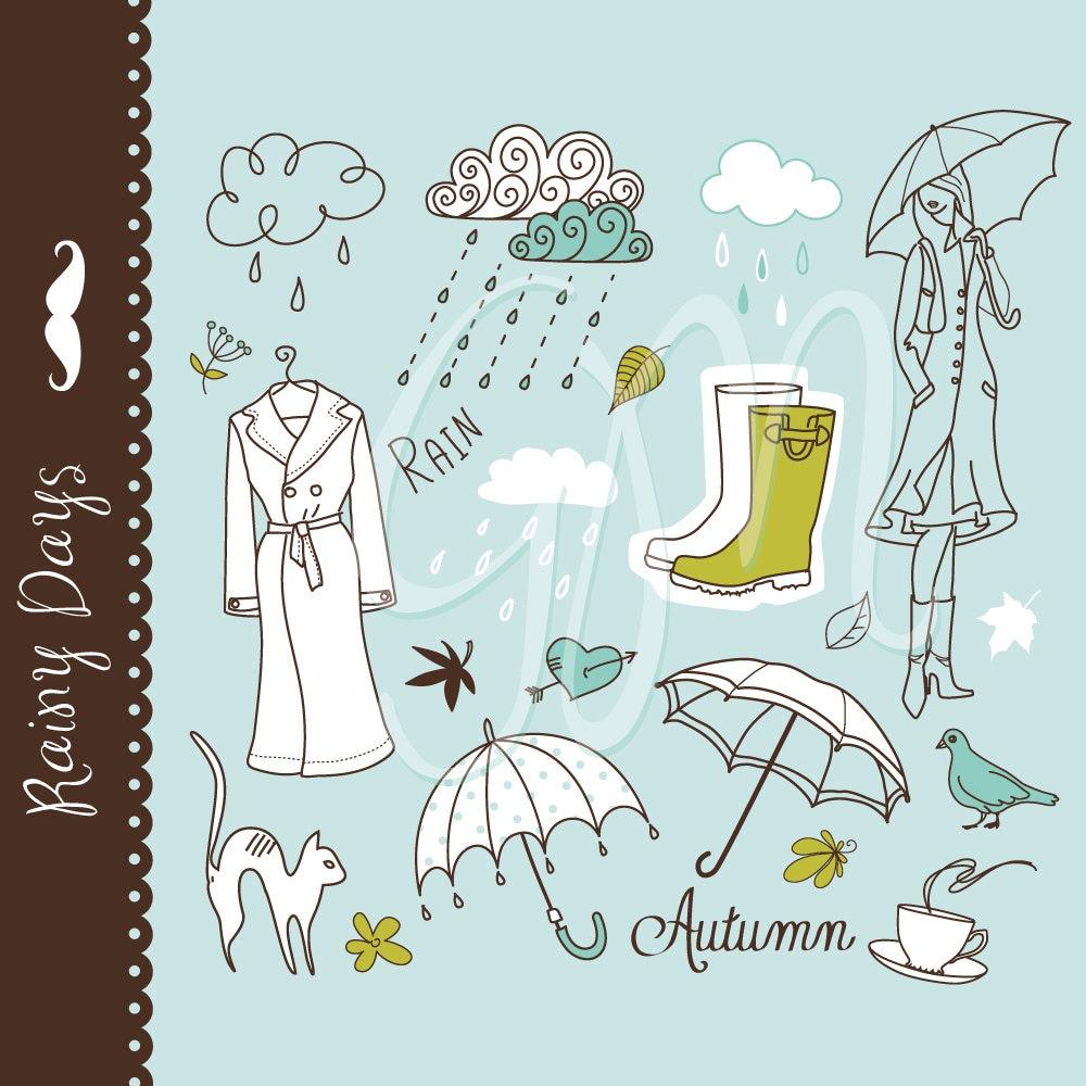 I Love Rainy Days: Rainy Day Digital Clip Art 2 Collage Sets Umbrella Doodles