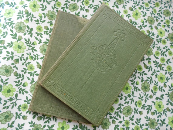 Two Vintage Books - Shakespeare and Browning - Green Clothbound Pocket Books