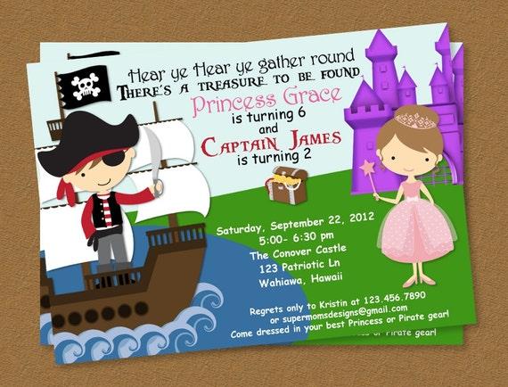 Pirates or Princess Printable Birthday Invitation (4x6 and 5x7)