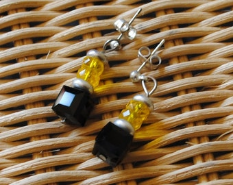 Black and yellow cube earrings