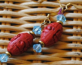 Cinnabar and aqua earrings