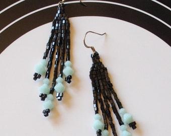 Black mint brick stitch earrings