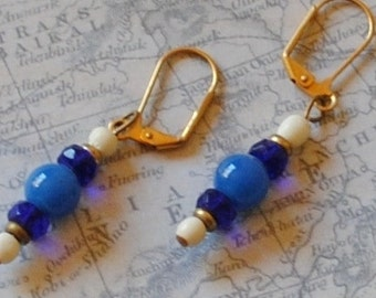 Blue white and cobalt earrings