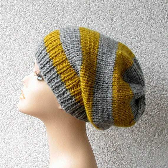 Knitted Slouchy Beanie Hat  in Mustard and Grey