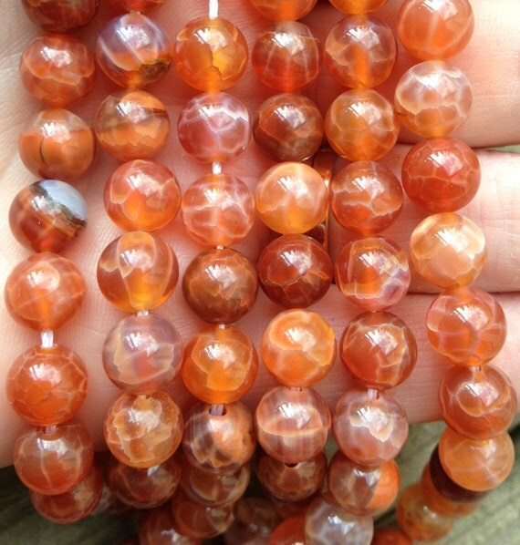 8mm Fire Agate beads, Red Orange, Crackled, Round, Faceted, Gemstone Beads, 8mm, Full Strand,