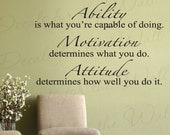 Ability What Youre Capable Doing Motivation Attitude Inspirational Motivational Vinyl Wall Decal Quote Lettering Decor Sticker Art I24