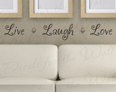 Live Laugh Love Family Home Love Living Room Adhesive Vinyl Lettering Quote Large Wall Decal Mural Sticker Decor Saying Decoration H15