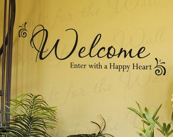Welcome Enter With a Happy Entryway Home Entry Decorative Vinyl Sticker Graphic Wall Decal Quote Lettering Decor Saying Decoration E05