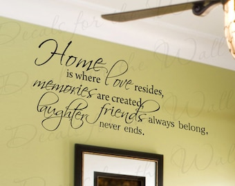 Home Where Love Resides Memories Abide Love Home Family Wall Decal Decor Saying Lettering Adhesive Vinyl Quote Sticker Decoration F65