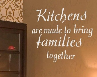 Kitchens Made Bring Families Together Dining Room Mom Family Vinyl Large Wall Decal Lettering Decoration Quote Decor Sticker Art Mural KI35