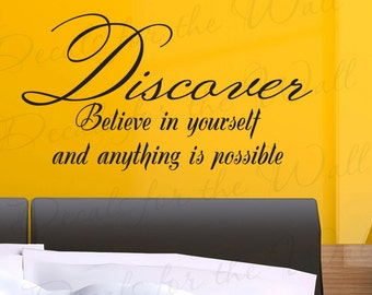 Discover Believe Yourself and Anything Inspirational Kid Quote Sticker Vinyl Large Wall Decal Lettering Art Decor Saying Decoration J43
