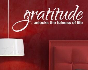 Gratitude Unlocks Fullness Life Inspirational Motivational Quote Lettering Decor Saying Sticker Art Adhesive Vinyl Wall Decal Decoration J44