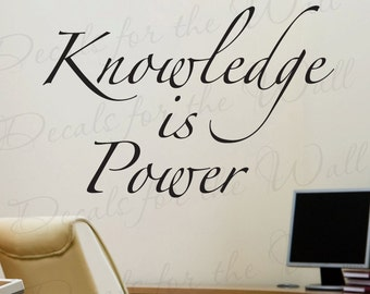 Knowledge Power Office Inspirational Motivational Achievement Success Quote Lettering Decor Sticker Graphic Art Vinyl Large Wall Decal I06