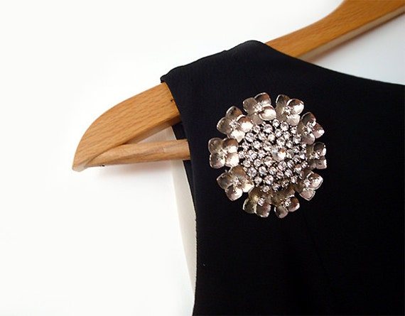 Vintage Rhinestone Brooch Clear Pin Large Round Wedding.