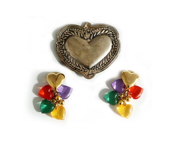 Vintage HEART EARRINGS  Clip, 80's