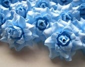 24 Blue sky mini Roses Heads - Artificial Silk Flower - 1.75 inches - Wholesale Lot - for Wedding Work, Make clips, headbands