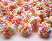 100 Light Rainbow mini Roses Heads - Artificial Silk Flower - 1.75 inches - Wholesale Lot - for Wedding Work, Make Hair clips, headbands