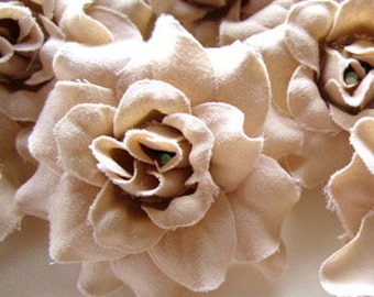 12 Cream mini Roses Heads - Artificial Silk Flower - 1.75 inches - Wholesale Lot - for Wedding Work, Make Hair clips, headbands, hats