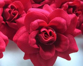 12 Red mini Roses Heads - Artificial Silk Flower - 1.75 inches - Wholesale Lot - for Wedding Work, Make Hair clips, headbands