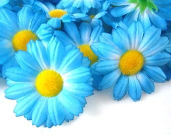 25 Blue Gerbera Daisy Heads - Artificial Silk Flower - 1.75 inches - Wholesale Lot - for Wedding work, Make Hair clips, headbands, scapbook