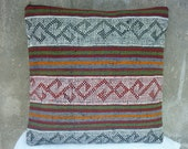 "MODERN Bohemian Home Decor, Handwoven Striped Tribal Kurdish Kilim Soumak Pillow Cover,16""x16"",Decorative Vintage Kilim Embroidered Pillow."
