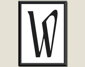 Typography Giclee Print Monogram Initial Wall Art Ariosto Letter W