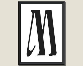 Typography Giclee Print Monogram Initial Wall Art Ariosto Letter M