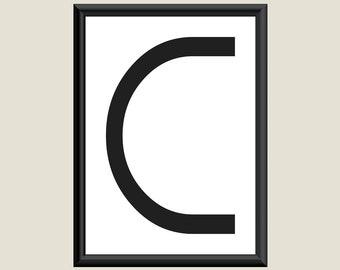Typography DIGITAL PRINT Monogram Initial Wall Art Boogie Nights Letter C 5x7