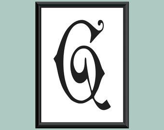 Typography Giclee Print Monogram Initial Wall Art Carmencita Letter G