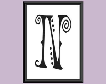 Typography Giclee Print Monogram Initial Wall Art SpaGirl Letter N