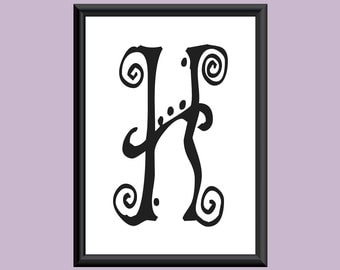 Typography Giclee Print Monogram Initial Wall Art SpaGirl Letter H