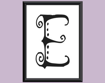 Typography DIGITAL PRINT Monogram Initial Wall Art SpaGirl Letter E 5x7