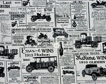 Old-Time Automobiles - Fabric By The Half Yard 18 inches x 44 inches