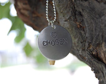 CHOSEN necklace hand stamped aluminum with Ugandan rolled paper bead