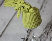 Lime Green Cable Knit Upcycled Newborn Prop Hat