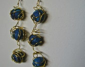 Recycled Newspaper Bouncy Dangling Wire Wrapped Blue Paper Bead Hook Earrings