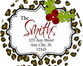 Christmas Round Address Labels,  Cheetah Red Holly Round Labels Stickers for Christmas Cards, Address Labels, Preppy Labels