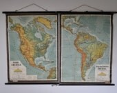 RESERVED FOR KATE: Pair of Vintage Pull Down Classroom Wall Maps. North America. Central / South America. Printed in Austria.