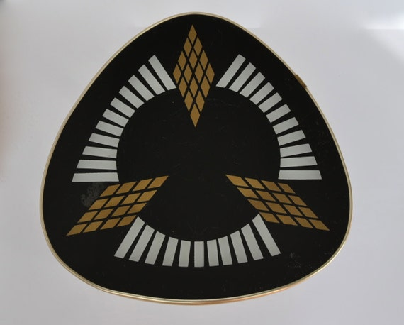 Mid Century Coffee Table. Glass top.  White, black and gold design. Germany.  1960s.