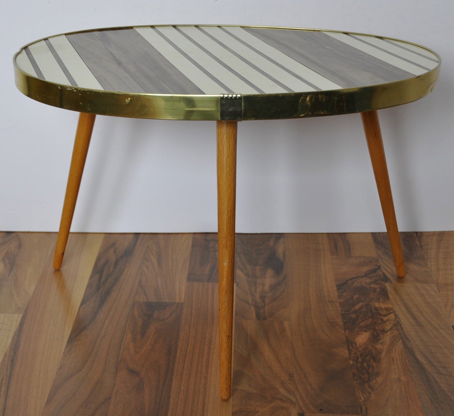 Original Mid Century Coffee Table. 1960s. Striped. Pearl Brown
