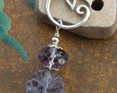 STERLING SILVER CHARM Holder With Simple Leaf Motif with Carved Lilac Fluorite Flower And Large Faceted Amethyst.