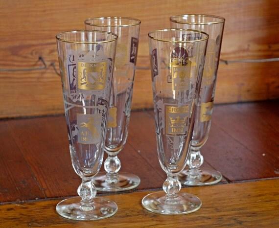1960s Pilsner Glasses // 60s Old Tavern Pilsners