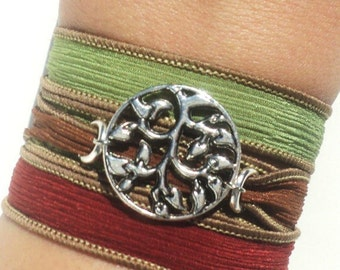 Hand Dyed Silk Wrap Bracelet Red Green Yellow Tree of Life Bohemian Yoga Jewelry Necklace Gift For Her Christmas Gift Under 50 Item Z77
