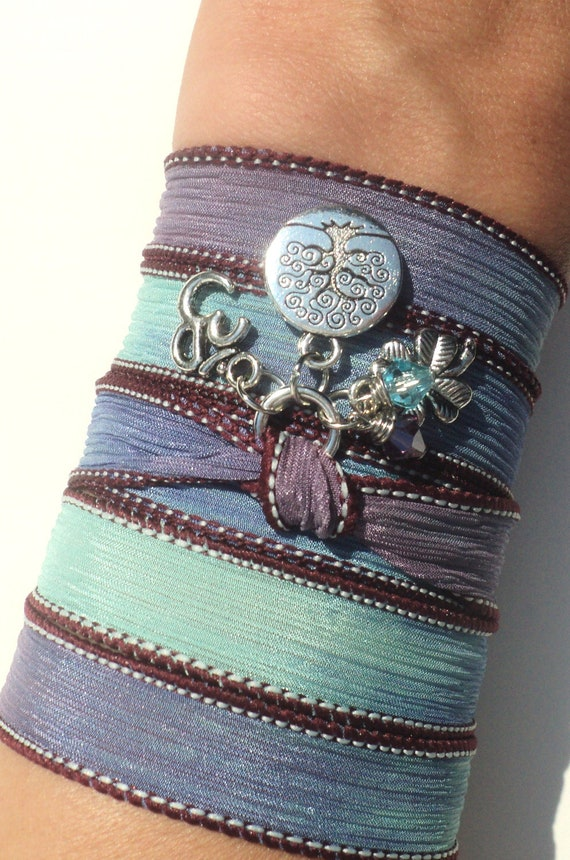 Tree of Life Namaste Silk Wrap Bracelet Mother Nature Om Jewelry Yoga Blue Anklet Necklace Earthy Unique Gift Under 50 Item S71