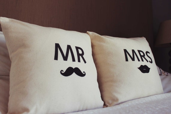 Mr and Mrs - Moustache and Lips Throw Pillow Cushion Cover - Perfect Wedding Gift For a Trendy Modern Couple