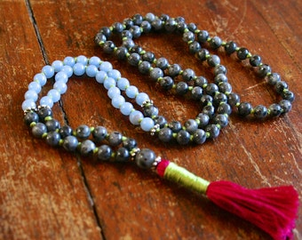 Angelite and Blue Labradorite Zen Mala 108 Mala Beads Meditation Prayer Beads Hindu Mala Necklace Buddhist Rosary Knotted Gemstone Mala